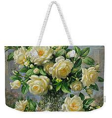 Princess Diana Roses In A Cut Glass Vase Weekender Tote Bag