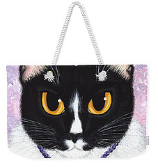 Weekender Tote Bag featuring the painting Princess Fiona -tuxedo Cat by Carrie Hawks