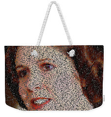 Weekender Tote Bag featuring the painting Princess Leia Quotes Mosaic by Paul Van Scott