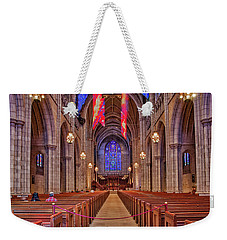 Weekender Tote Bag featuring the photograph Princeton University Chapel by Susan Candelario