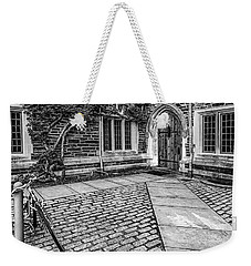 Weekender Tote Bag featuring the photograph Princeton University Foulke Hall Bw by Susan Candelario