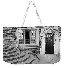 Weekender Tote Bag featuring the photograph Princeton University Lockhart Hall Bw by Susan Candelario