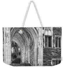 Weekender Tote Bag featuring the photograph Princeton University Lockhart Hall Dorms Bw by Susan Candelario
