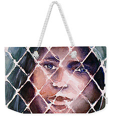 Weekender Tote Bag featuring the painting Prism Girl by Allison Ashton