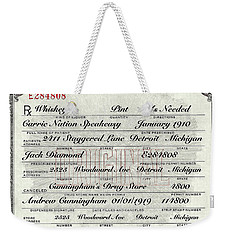 Weekender Tote Bag featuring the photograph Prohibition Prescription Certificate Carrie Nation Speakeasy by David Patterson