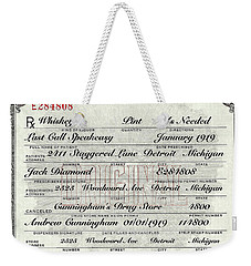 Weekender Tote Bag featuring the photograph Prohibition Prescription Certificate Establishments by David Patterson