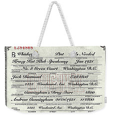 Weekender Tote Bag featuring the photograph Prohibition Prescription Certificate Krazy Kat Klub by David Patterson