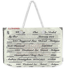 Weekender Tote Bag featuring the photograph Prohibition Prescription Certificate My Bar, by David Patterson