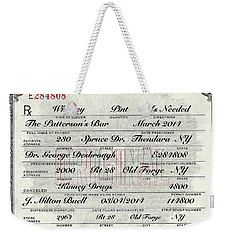 Weekender Tote Bag featuring the photograph Prohibition Prescription Certificate Personalized by David Patterson