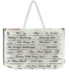 Weekender Tote Bag featuring the photograph Prohibition Prescription Certificate Speakeasy by David Patterson