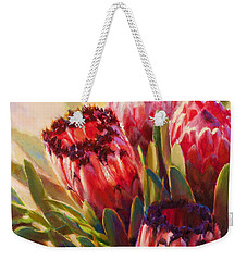 Weekender Tote Bag featuring the painting Protea - Tropical Flowers From Hawaii by Karen Whitworth