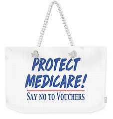 Weekender Tote Bag featuring the drawing Protect Medicare by Heidi Hermes