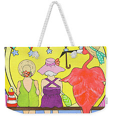 Weekender Tote Bag featuring the painting Protecting Friends by Rosemary Aubut