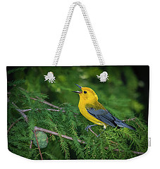 Weekender Tote Bag featuring the photograph Prothonatory Warbler 9809 by Donald Brown