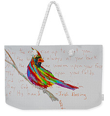 Proud Cardinal With Blessing Weekender Tote Bag by Beverley Harper Tinsley