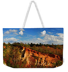 Weekender Tote Bag featuring the photograph Providence Canyon Panorama by Barbara Bowen