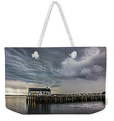 Weekender Tote Bag featuring the photograph Provincetown Storm, Cabrals Wharf by Charles Harden