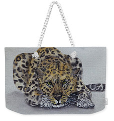 Weekender Tote Bag featuring the painting Prowling Leopard by Kelly Mills