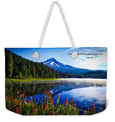 Weekender Tote Bag featuring the photograph Psalm 150 With Lake Trillium by Lynn Hopwood