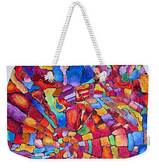 Weekender Tote Bag featuring the drawing Psychedelic Abstract by Megan Walsh