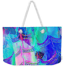 Psychedelic Blue Shoes Shopping Is Fun Abstract Square 4f Weekender Tote Bag