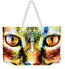 Psychedelic Kitty Cat Weekender Tote Bag