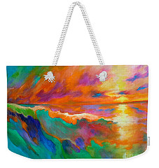 Weekender Tote Bag featuring the painting Psychedelic Sea by Alison Caltrider