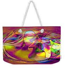 Weekender Tote Bag featuring the digital art Psychedelic Sun by Linda Sannuti
