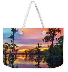Psychedelic Swamp Weekender Tote Bag by Kimo Fernandez