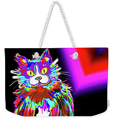 Weekender Tote Bag featuring the painting Psycho Dizzycat by DC Langer