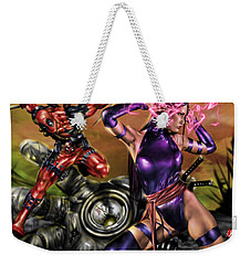 Psylocke And Deadpool Weekender Tote Bag