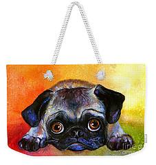 Pug Dog Portrait Painting Weekender Tote Bag