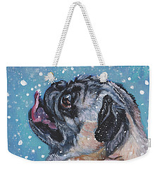 Pug In The Snow Weekender Tote Bag