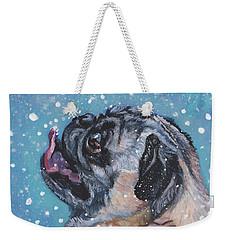 Pug In The Snow Weekender Tote Bag by Lee Ann Shepard