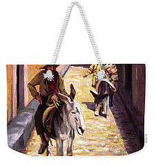 Weekender Tote Bag featuring the painting Pulling Up The Rear In Mexico by Nancy Griswold