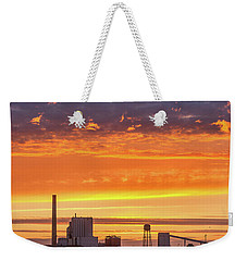 Weekender Tote Bag featuring the photograph Pulp Mill Sunset by Greg Nyquist