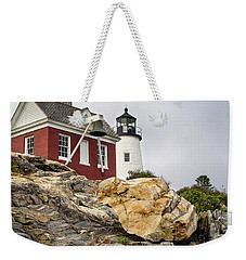 Pumphouse And Tower, Pemaquid Light, Bristol, Maine  -18958 Weekender Tote Bag