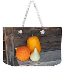 Pumpkin On A Bench Weekender Tote Bag by Catherine Gagne