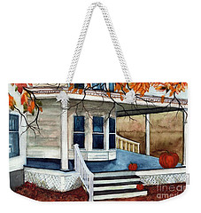Weekender Tote Bag featuring the painting Pumpkin Porch - Halloween House by Janine Riley
