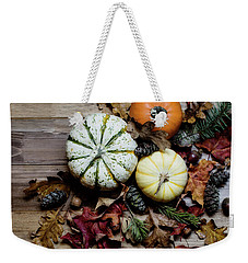 Weekender Tote Bag featuring the photograph Pumpkins And Leaves by Rebecca Cozart