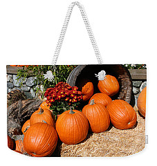 Weekender Tote Bag featuring the mixed media Pumpkins- Photograph By Linda Woods by Linda Woods