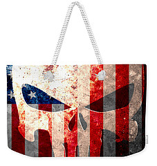 Punisher Skull And American Flag On Distressed Metal Sheet Weekender Tote Bag