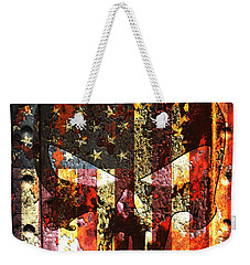 Punisher Skull On Rusted American Flag Weekender Tote Bag by M L C