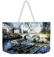 Weekender Tote Bag featuring the digital art Punting On The Thames by Pennie McCracken