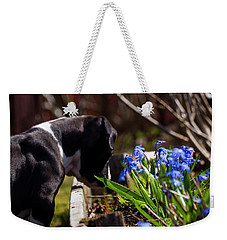 Puppy And Flowers Weekender Tote Bag