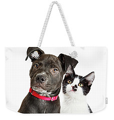 Puppy And Kitten Closeup Over White Weekender Tote Bag