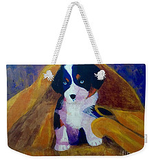 Weekender Tote Bag featuring the painting Puppy Bath by Donald J Ryker III