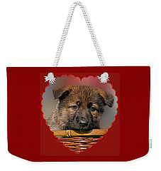 Weekender Tote Bag featuring the photograph Puppy In Red Heart by Sandy Keeton