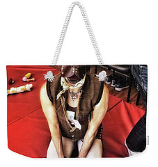 Weekender Tote Bag featuring the photograph Puppy Play. Human Canine Training by Mr Photojimsf