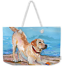 Puppy Pose Weekender Tote Bag by Molly Poole